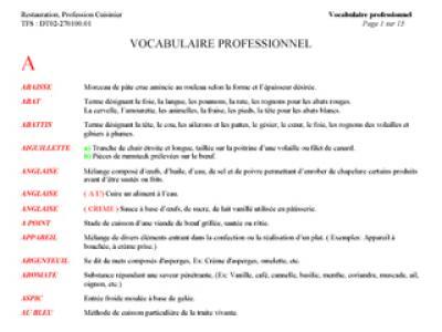 Vocabulaire professionnel for Vocabulaire ustensiles de cuisine